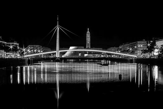 Bassin Du Commerce Bridge At Night In Le Havre, France by Andy Morton Photography