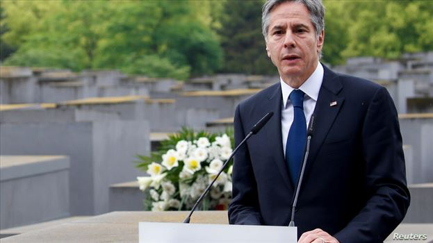 FILE PHOTO: U.S. Secretary of State Antony Blinken speaks during a visit at Holocaust Memorial as a part of Holocaust Dialogue signing event in Berlin by mohsen dehbashi