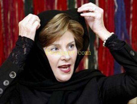 8977_1.jpg - تصویر لورا بوش همسر جرج بوش با حجاب
