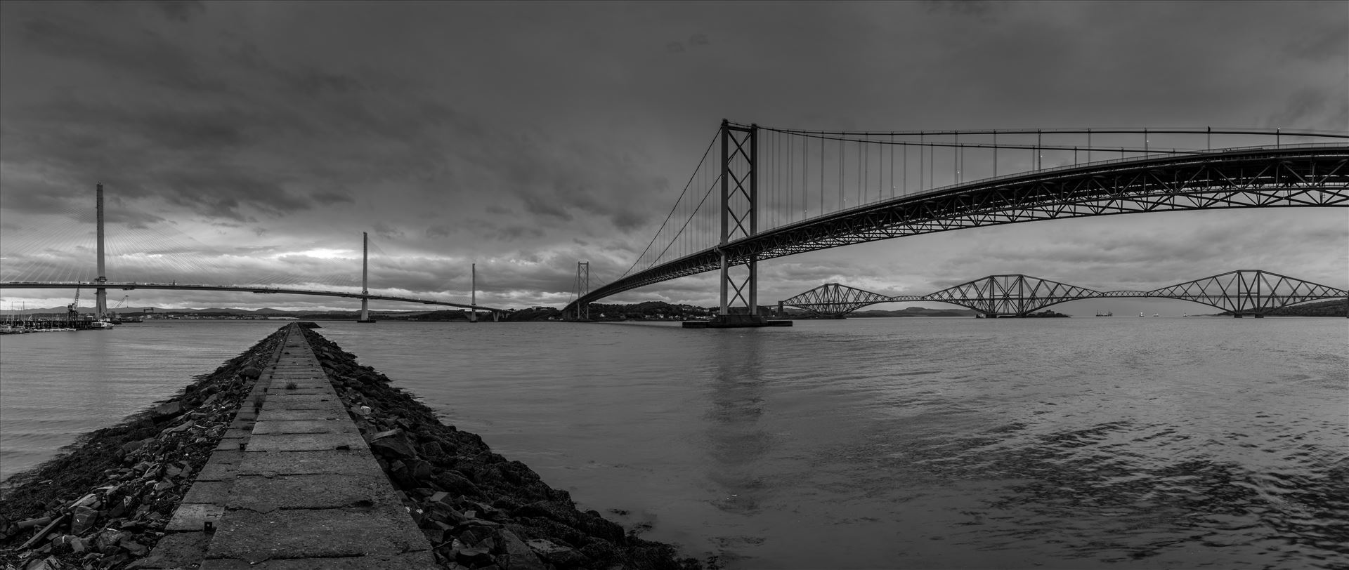 Bridges across the Forth This panoramic shot shows the 3 bridges spanning the Firth of Forth nr Edinburgh. by philreay