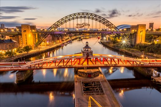 The River Tyne - In the foreground is the Swing bridge, at the top is the world famous Tyne bridge \u0026 under that is the Millennium bridge.