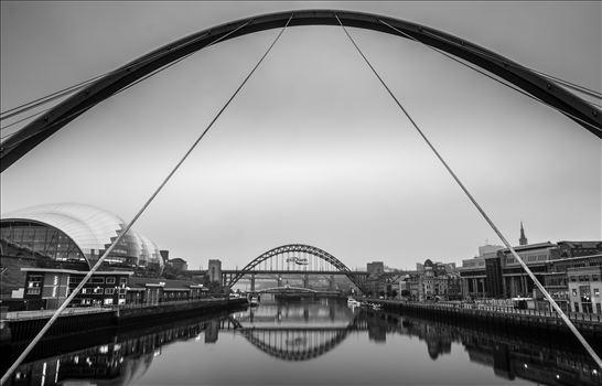 Millennium Bridge - Looking up river from the Millennium Bridge towards the Tyne, Swing \u0026 High Level Bridges