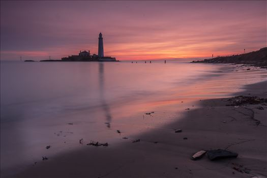 Sunrise at St Mary`s lighthouse & island, Whitley Bay 007 by philreay