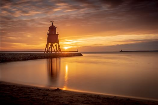 Herd Groyne lighthouse, South Shields at sunrise-long exposure by philreay