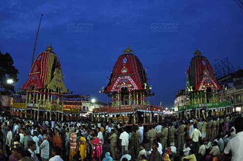 Festivals- Jagannath Rath Yatra (Odisha) The chariots of Lord Jagannath, Balbhadra and Subhadra traditionally decorated, parked in front of the Jagannath temple at Puri, Odisha, India. by Anil Sharma Fotography