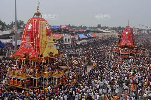 Festivals- Jagannath Rath Yatra (Odisha) Procession of the glorious chariots of Lord Balbhadra and Lord Jagannath, accompanied by thousands of excited pilgrims, for Jagannath Rath Yatra festival at Puri, Odisha, India. by Anil Sharma Fotography