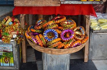 Fairs- Pushkar Fair (Rajasthan) Pushkar, Rajasthan, India- January 16, 2018: Traditional Rajasthani Bracelets at a shop, Pushkar, Rajasthan, India. by Anil Sharma Fotography
