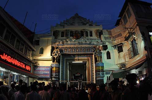Festivals- Jagannath Rath Yatra (Odisha) The Lion's Gate (Simhadwara) in front of the Jagannath Temple, decorated and dimly lit, for Jagannath Rath Yatra festival at Puri, Odisha, India. by Anil Sharma Fotography