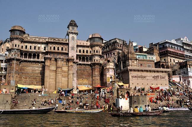 Travel- Varanasi the city of light (India) People sitting on stone steps of famous Munshi Ghats at Varanasi, Uttar Pradesh, India. by Anil Sharma Fotography