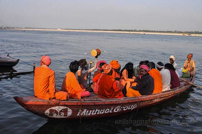 Culture- Naga Sadhu's (India) A group of Naga Sadhu's on a Boat returning to their camps at Varanasi. by Anil Sharma Fotography
