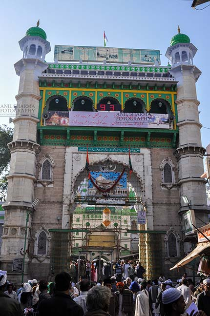 Religion- Dargah Sharif, Ajmer, Rajasthan (India) Main entrance viewed from market, Ajmer Sharif Dargah the Mausoleum of Moinuddin Chishti, a sufi saint from India at Ajmer, Rajasthan, India. by Anil Sharma Fotography