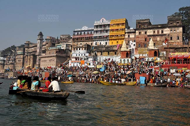 """Travel- Varanasi the city of light (India) Large number of devotees and tourists at Munshi Ghat at Varanasi, Uttar Pradesh, India.  Varanasi is the second oldest city in the world, situated at the bank of holy river Ganges in Uttar Pradesh, India. It is also known as """"The city of Light"""" by Hindu by Anil Sharma Fotography"""