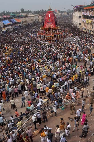 Festivals- Jagannath Rath Yatra (Odisha) Massive chariot of Lord Balbhadra surrounded by thousands of enthused pilgrims, for Jagannath Rath Yatra festival at Puri, Odisha, India. by Anil Sharma Fotography