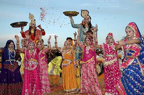 Festivals- Holi and Elephant Festival (Jaipur) Rajasthani folk artists performing Radha-Krishana Leela at Holi and Elephant Festival at jaipur, Rajasthan (India). . by Anil Sharma Fotography
