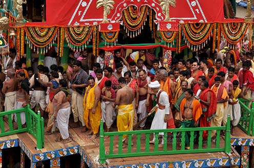 Festivals- Jagannath Rath Yatra (Odisha) The religious custom of Gajpati king wearing the outfit of a sweeper and sweeping the chariot before the commencement of the rath yatra, for Jagannath Rath Yatra festival at Puri, Odisha, India. by Anil Sharma Fotography