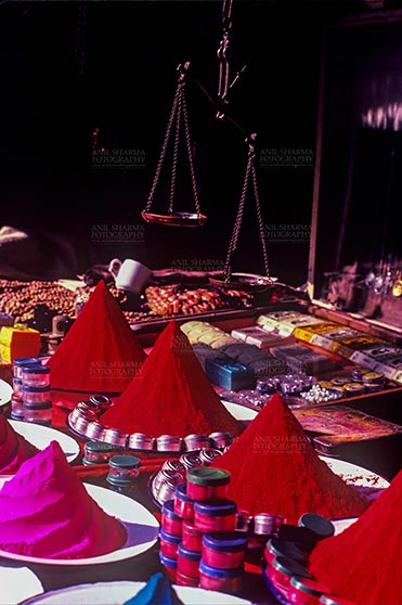 Fairs- Pushkar Fair (Rajasthan) Pushkar, Rajasthan, India- May 23, 2008: Scented color powder shop at Pushkar fair, Rajasthan, India. by Anil Sharma Fotography