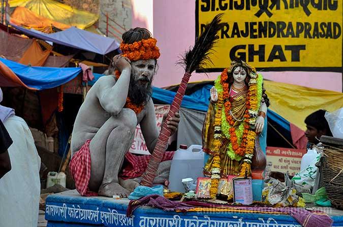 Culture- Naga Sadhu's (India) A Naga Sadhu performing puja at Dr. Rajinder Prashad Ghat, Varanasi. by Anil Sharma Fotography
