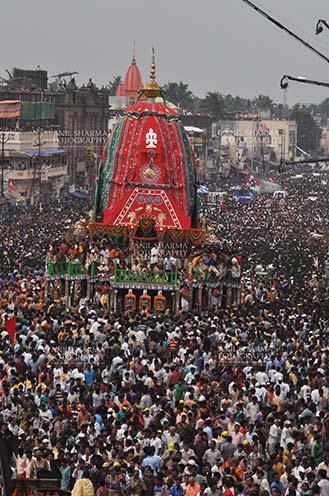 Festivals- Jagannath Rath Yatra (Odisha) Richly decorated chariot of Lord Balbhadra commemorates the procession from Jagannath temple to Gundicha Temple, for Jagannath Rath Yatra festival at Puri, Odisha, India. by Anil Sharma Fotography