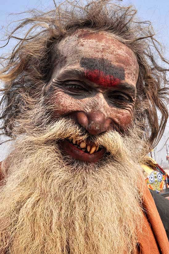 Culture- Aghori Sadhu, Uttar Pradesh (India). Smile of an old Aghori Sadhu with long hairs, ash on face at Mahakumbh Prayag, Allahabad, Uttar Pradesh (India). by Anil Sharma Fotography