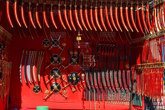 Fairs- Pushkar Fair (Rajasthan) - DSC_0063-1 Pushkar, Rajasthan, India- January 16, 2018: A shop of traditional Rajasthani swords at Sadar Bazaar, Pushkar, Rajasthan, India.