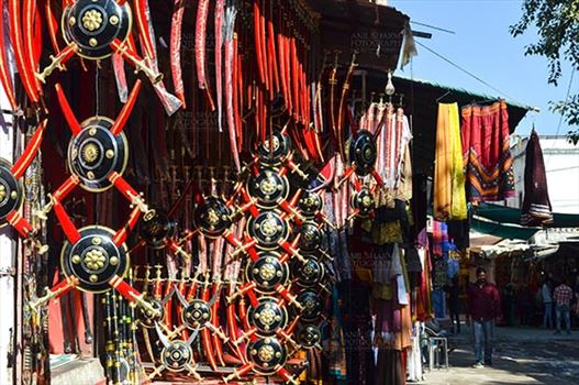 Fairs- Pushkar Fair (Rajasthan) - Pushkar, Rajasthan, India- January 16, 2018: A shop of traditional Rajasthani swords at Pushkar, Rajasthan, India.