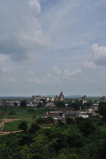Monuments- Palaces and Temples of Orchha - Orchha, Madhya Pradesh, India- August 20, 2012: Chaturbhuj temple View from Laxmi Temple, Orchha, Madhya Pradesh, India.