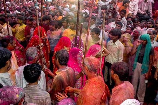 Festivals- Lathmaar Holi of Barsana (India) - Lagre number of people gathered to celebrate Lathmaar Holi at Barsana, Mathura, Uttar Pradesh, India.