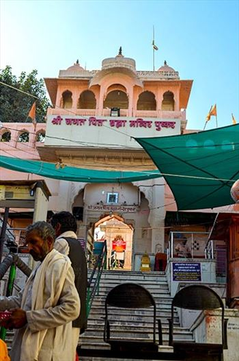 Fairs- Pushkar Fair (Rajasthan) - Pushkar, Rajasthan, India- January 16, 2018: The entrance of Brahma Temple at Pushkar, Rajasthan, India.