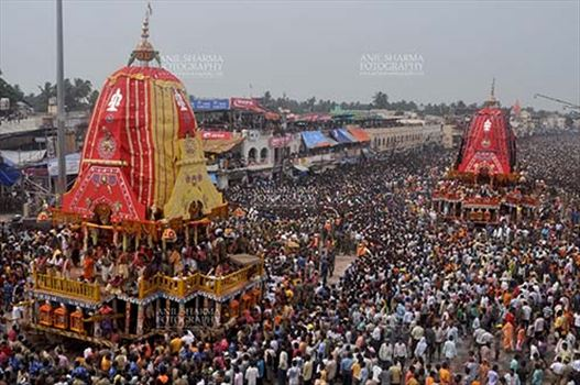The Jagannath rath yatra or chariot festival marks the travel of deities of Jagannath, Balbhadra and Shubhadra (Krishna, Balaram and Shubhadra) from Jagannath temple to nearby Gundicha temple at Puri, Odisha, India.