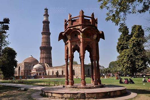 Monuments- Qutab Minar, New Delhi, India. - A Red sendstone Bengal style chhattri or MajorRobert Smith's Folly, Qutub Minar and Alai Darwaza at Qutub Minar Complex, Mehrauli, New Delhi, India.