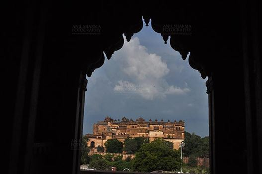Monuments- Palaces and Temples of Orchha - Orchha, Madhya Pradesh, India- August 20, 2012: Jahangir Mahal, Citadel of Jahangir, viewed from Chaturbhuj Temple, Orchha, Madhya Pradesh, India.