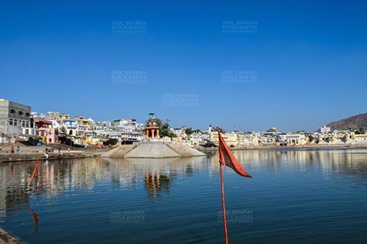 Fairs- Pushkar Fair (Rajasthan) - Pushkar, Rajasthan, India- January 16, 2018: Hindu Pilgrimage site of Pushkar with old buildings, temples, ghats and Holy Pushkar Sarovar at Rajasthan, India.