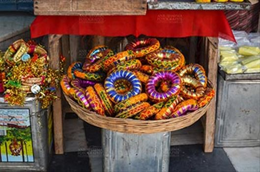 Fairs- Pushkar Fair (Rajasthan) - Pushkar, Rajasthan, India- January 16, 2018: Traditional Rajasthani Bracelets at a shop, Pushkar, Rajasthan, India.