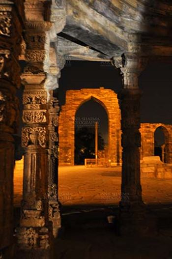 Monuments- Qutab Minar in Night, New Delhi, India. by Anil