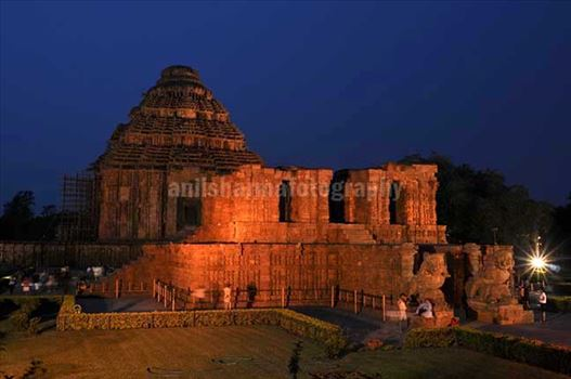 Monuments- Sun Temple Konark (Orissa) - The Beauty of ancient Konark Sun Temple in flood lights at night (a UNESCO world heritage site) near Bhubaneswar, Orissa, (India)