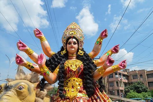 Durga Puja festival marks the victory of Goddess Durga over the evil buffalo demon Mahishasura marking the triumph of Good over Evil.