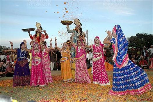 Festivals- Holi and Elephant Festival (Jaipur) - Rajasthani folk artists performing Radha-Krishana Leela at Holi and Elephant Festival at jaipur, Rajasthan (India).\r\n.