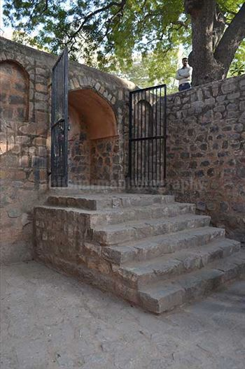 Monuments: Agrasen ki Baoli or Stepwell at New Delhi - The entrance of Agrasen Ki Baoil is on a small road which connects Hailey Road near Connaught Place, New Delhi, India.