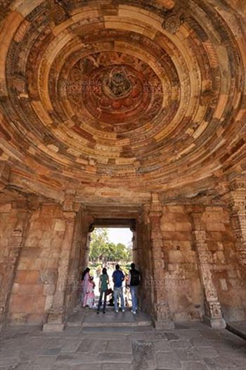 Monuments- Qutab Minar, New Delhi, India. - Interior of a dome in the arcades close to the big minaret, Qutab Minar Complex, New Delhi, India.