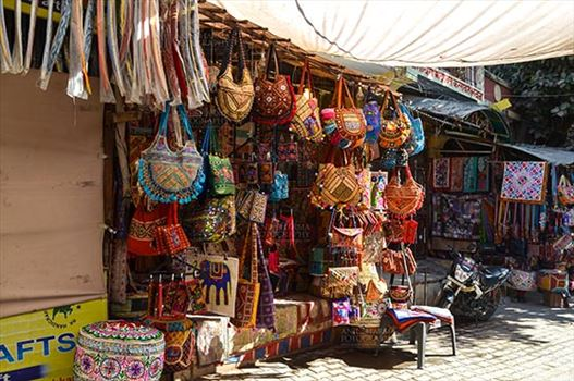 Fairs- Pushkar Fair (Rajasthan) - Pushkar, Rajasthan, India- January 16, 2018: Handicraft  and hand made decorated material market at Pushkar, Rajasthan, India.