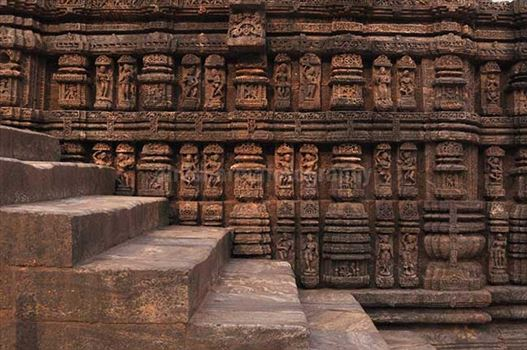 Monuments- Sun Temple Konark (Orissa) - Richly carved sculptures of dancers and musicians, at Konark Sun Temple also known as Black Pagoda, at Bhubaneswar, Orissa, (India)