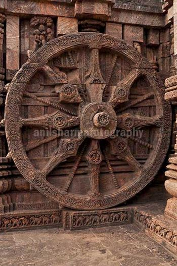 Monuments- Sun Temple Konark (Orissa) - One of the highly ornate carved wheels of Sun temple at Konark, Orissa, India.
