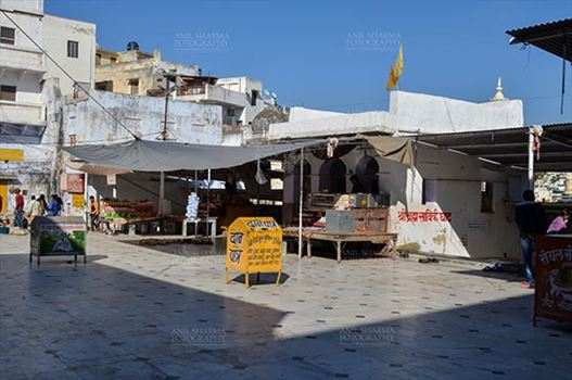 Fairs- Pushkar Fair (Rajasthan) - Pushkar, Rajasthan, India- January 16, 2018: Buildings and shops at the holy Pushkar Sarovar, Hindu Pilgrimage site, at Rajasthan, India.