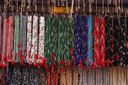 Fairs- Baneshwar Tribal Fair - Baneshwar, Dungarpur, Rajasthan, India- February 14, 2011: Necklaces, beads, jewelry, gemstones, bracelets, earrings, bangles shop at Baneshwar, Dungarpur, Rajasthan, India