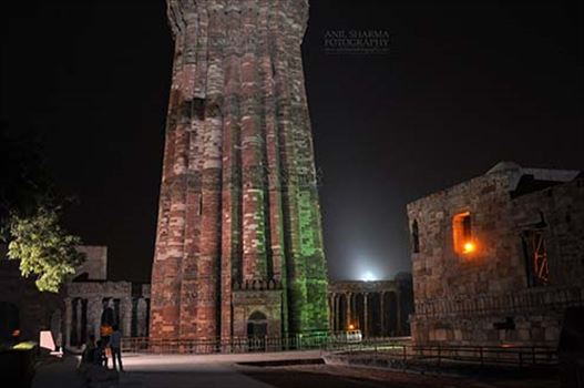 Monuments- Qutab Minar in Night, New Delhi, India. - Qutub Minar a UNESCO World Heritage Site in night at Qutub Minar Complex, Mehrauli , New Delhi, India.