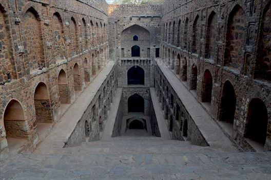 "Monuments: Agrasen ki Baoli or Stepwell, New Delhi - The picture of historic ""Agrasen Ki Baoli"" (Baoli means step well) at Hailey Road, Connaught Place, New Delhi, India."