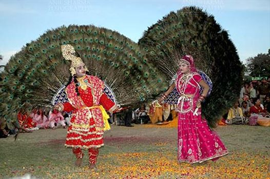 Festivals- Holi and Elephant Festival (Jaipur) - Rajasthani folk artists performing Radha-Krishna\u0027s peacock dance at Holi and Elephant Festival at jaipur, Rajasthan (India).\r\n.