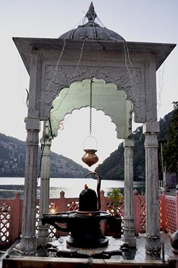 Travel- Nainital (Uttarakhand) - Nainital, Uttarakhand, India- November 11, 2015: Shivling at Naina Devi Temple, the temple devoted to Maa Naina Devi is situated right on Naini Lake near Flat at Mallital, Nainital, Uttarakhand India.