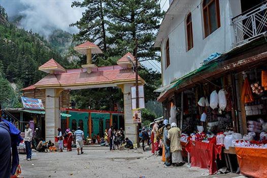 Travel- Gangotri (Uttarakhand) - Gangotri, Uttarakhand, India- June 14, 2013: Main Enterence gate of Gangotri town at Gangotri, Uttarkashi, Uttarakhand, India.