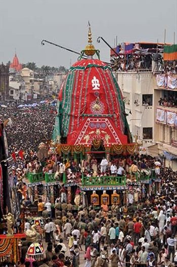 Festivals- Jagannath Rath Yatra (Odisha) - Richly decorated chariot of Lord Balbhadra commemorates the procession from Jagannath temple to Gundicha Temple, for Jagannath Rath Yatra festival at Puri, Odisha, India